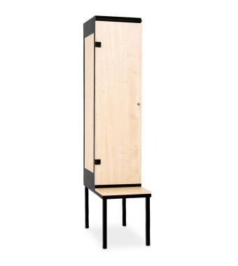 1-door clothes lockers with a seat, 1970 x 420 x 780 mm - Laminate/Steel