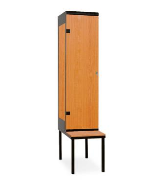 1-door clothes lockers with a seat 2195 x 420 x 780 mm - Laminate/Steel